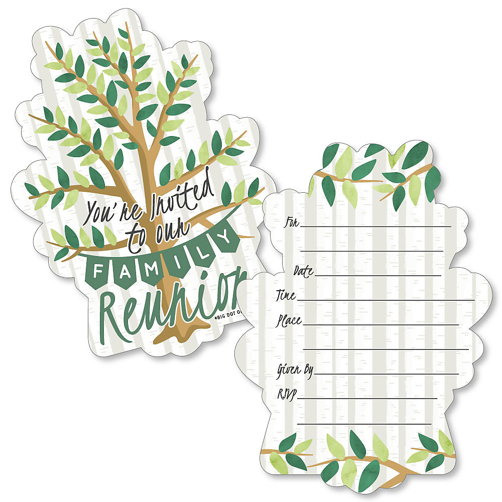 Family Tree Reunion Shaped Fill In Invitations Family Gathering Party Invitation Cards With Envelopes Set Of 12
