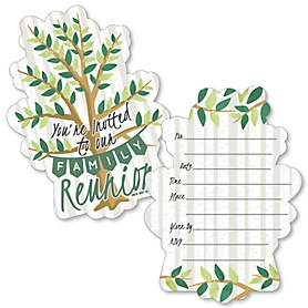 Family Tree Reunion - Shaped Fill-In Invitations - Family Gathering Party Invitation Cards with Envelopes - Set of 12