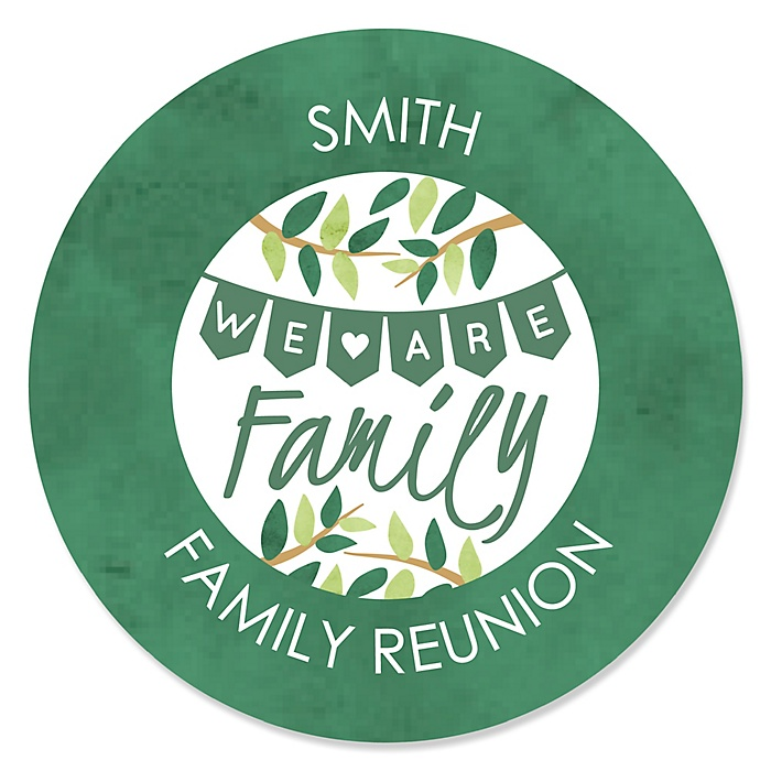 Family Tree Reunion - Round Personalized Family Gathering Party Sticker Labels - 24 ct