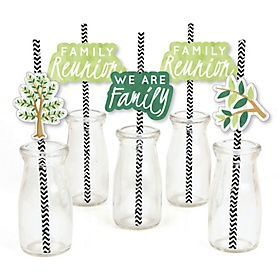 Family Tree Reunion - Paper Straw Decor - Family Gathering Party Striped Decorative Straws - Set of 24