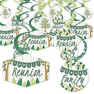 Family Tree Reunion - Family Gathering Party Hanging Decor - Party Decoration Swirls - Set of 40