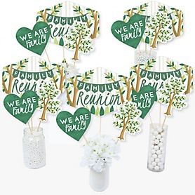 Family Tree Reunion - Family Gathering Party Centerpiece Sticks - Table Toppers - Set of 15