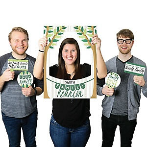 Family Tree Reunion - Personalized Family Gathering Party Selfie Photo Booth Picture Frame & Props - Printed on Sturdy Material