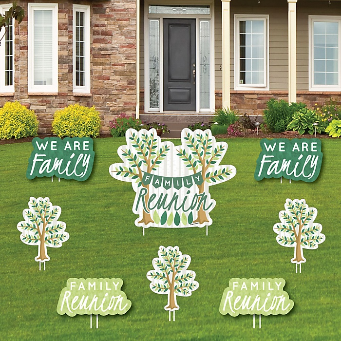 Family Tree Reunion - Yard Sign & Outdoor Lawn Decorations - Family Gathering Party Yard Signs - Set of 8