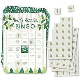 Family Tree Reunion - Bingo Cards and Markers - Family Gathering Party Bingo Game - Set of 18