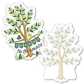 Family Tree Reunion - Shaped Thank You Cards - Family Gathering Party Thank You Note Cards with Envelopes - Set of 12