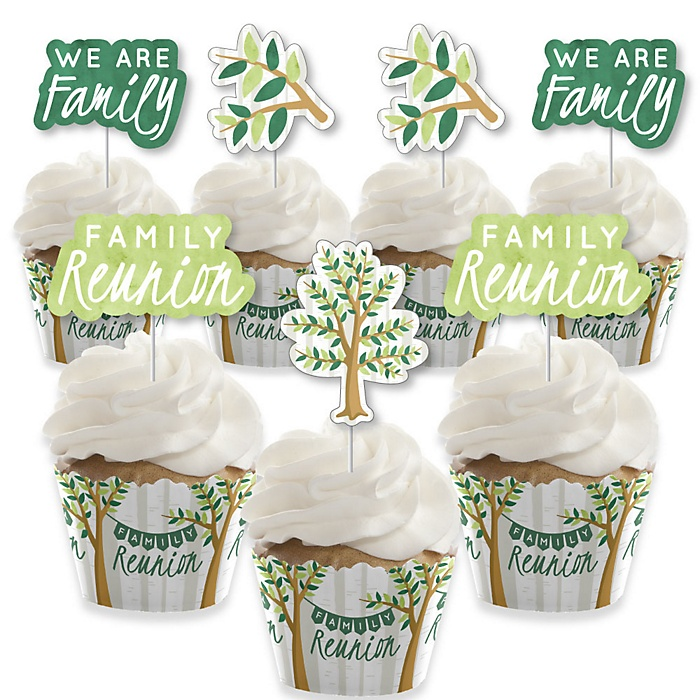 Family Tree Reunion - Cupcake Decoration - Family Gathering Party Cupcake Wrappers and Treat Picks Kit - Set of 24