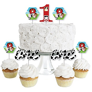 1st Birthday Farm Animals - Dessert Cupcake Toppers - Barnyard First Birthday Party Clear Treat Picks - Set of 24