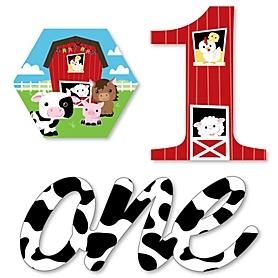 1st Birthday Farm Animals - DIY Shaped Barnyard First Birthday Party Cut-Outs - 24 ct