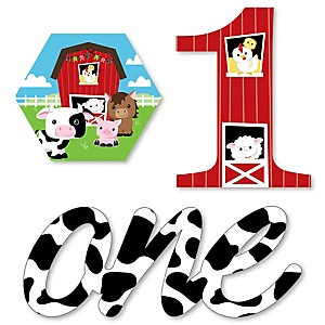1st Birthday Farm Animals - DIY Shaped Barnyard First Birthday Party Cut-Outs - 24 ct