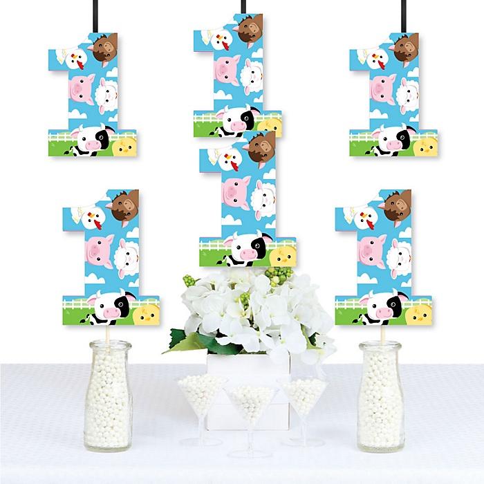 1st Birthday Farm Animals - One Shaped Decorations DIY Barnyard First Birthday Party Essentials - Set of 20