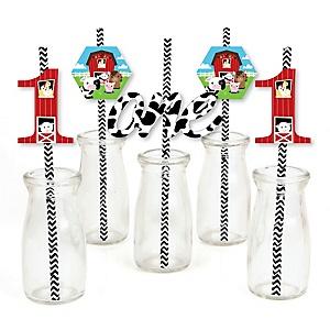 1st Birthday Farm Animals - Paper Straw Decor - Barnyard First Birthday Party Striped Decorative Straws - Set of 24