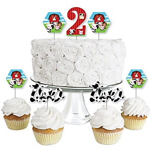 2nd Birthday Farm Animals - Dessert Cupcake Toppers - Barnyard Second Birthday Party Clear Treat Picks - Set of 24