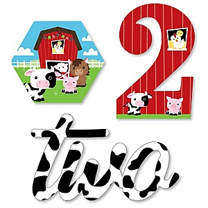2nd Birthday Farm Animals - DIY Shaped Barnyard Second Birthday Party Cut-Outs - 24 ct
