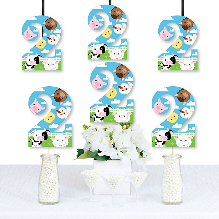 2nd Birthday Farm Animals - Two Shaped Decorations DIY Barnyard Second Birthday Party Essentials - Set of 20