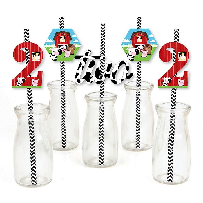 2nd Birthday Farm Animals - Paper Straw Decor - Barnyard Second Birthday Party Striped Decorative Straws - Set of 24