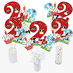 2nd Birthday Farm Animals - Barnyard Second Birthday Party Centerpiece Sticks - Table Toppers - Set of 15