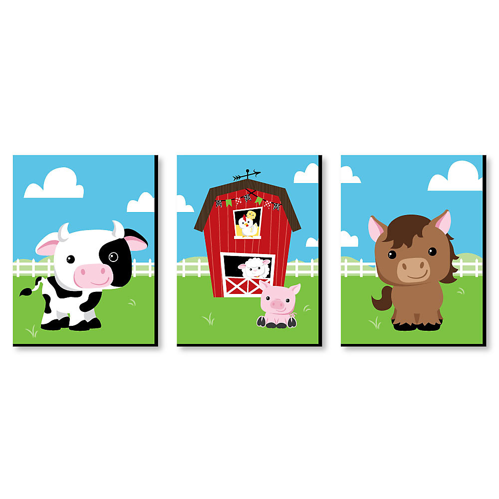 Farm Animals Barnyard Nursery Wall Art Kids Room Decor 7 5 X 10 Inches Set Of 3 Prints
