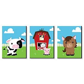 Farm Animals - Barnyard Nursery Wall Art & Kids Room Decor - 7.5 x 10 inches - Set of 3 Prints