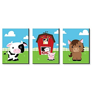Farm Animals - Barnyard Nursery Wall Art & Kids Room Decor - 7.5 x 10 inches - Set of 3 Prints