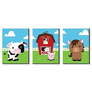 "Farm Animals - Barnyard Nursery Wall Art & Kids Room Décor - 7.5"" x 10"" - Set of 3 Prints"