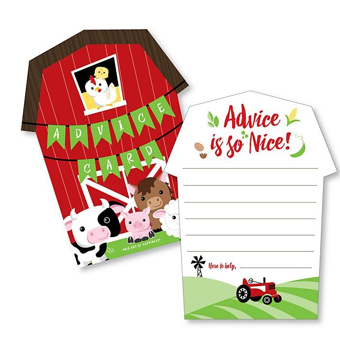 Farm Animals - Barn Wish Card Barnyard Baby Shower Activities - Shaped Advice Cards Game - Set of 20