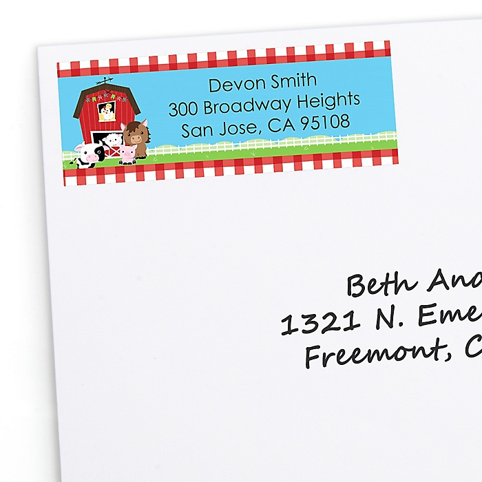 Farm Animals - Personalized Barnyard Baby Shower or Birthday Party Return Address Labels - 30 ct