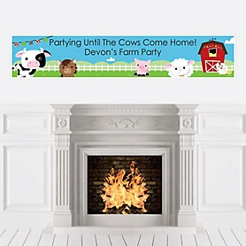 Farm Animals - Personalized Barnyard Baby Shower or Birthday Party Banner