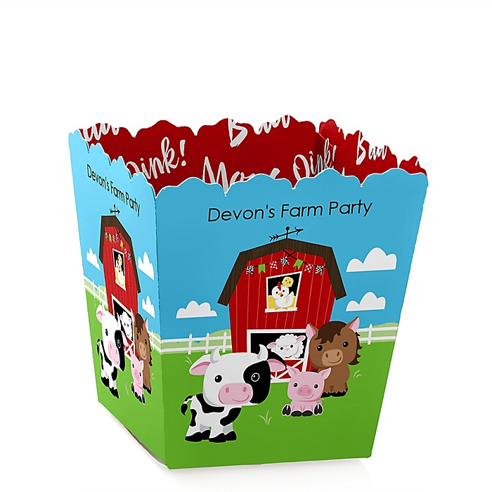 Farm Animals - Personalized Barnyard Baby Shower or Birthday Party Mini Favor Boxes - Party Treat Candy Boxes - Set of 12
