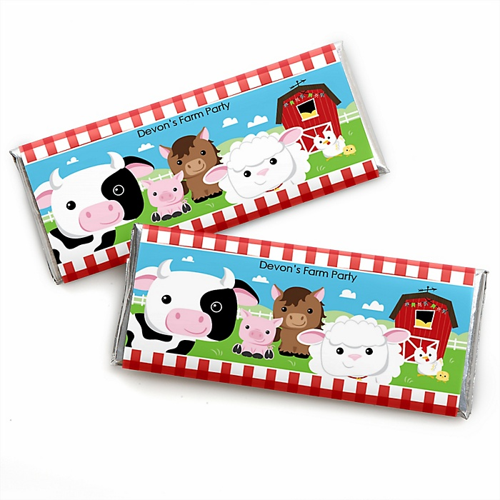 Farm Animals - Personalized Candy Bar Wrapper Barnyard Baby Shower or Birthday Party Favors - Set of 24