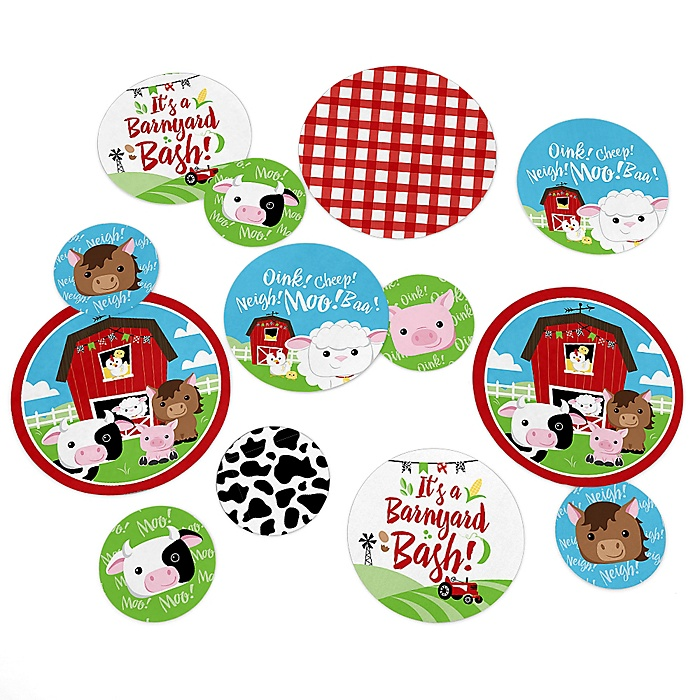 Farm Animals - Barnyard Baby Shower or Birthday Party Giant Circle Confetti - Party Decorations - Large Confetti 27 Count