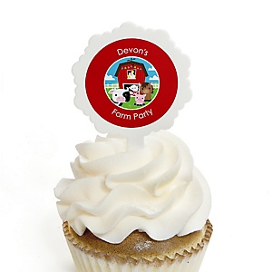 Farm Animals - Cupcake Picks with Personalized Stickers - Barnyard Baby Shower or Birthday Party Cupcake Toppers - 12 ct