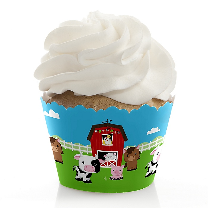 Farm Animals - Barnyard Baby Shower or Birthday Party Decorations - Party Cupcake Wrappers - Set of 12