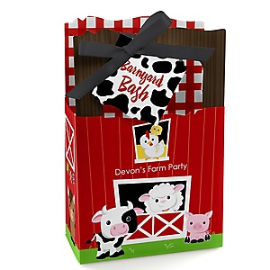 Farm Animals - Personalized Barnyard Baby Shower or Birthday Party Favor Boxes - Set of 12