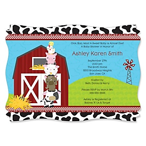 Farm Animals - Personalized Baby Shower Invitations