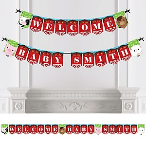 Farm Animals - Personalized Barnyard Baby Shower Bunting Banner & Decorations