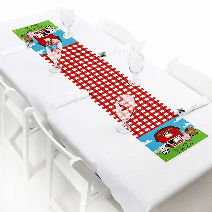 """Farm Animals - Personalized Petite Barnyard Baby Shower or Birthday Party Paper Table Runner - 12"""" x 60"""""""