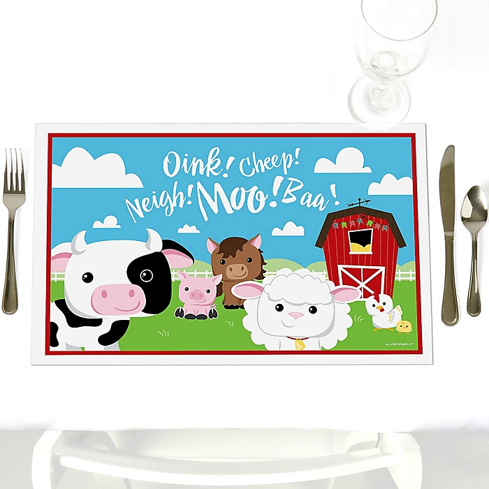 Farm Animals - Party Table Decorations - Barnyard Baby Shower or Birthday Party Placemats - Set of 12