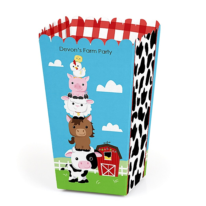Farm Animals - Personalized Barnyard Baby Shower or Birthday Party Favor Popcorn Treat Boxes - Set of 12