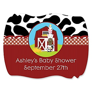 Farm Animals - Personalized Baby Shower Squiggle Stickers - 16 ct