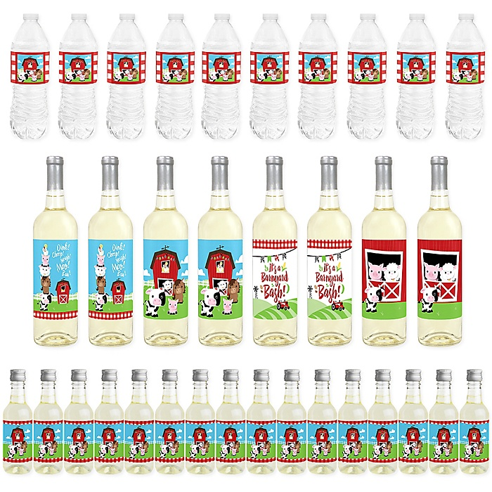 Farm Animals - Mini Wine Bottle Labels, Wine Bottle Labels and Water Bottle Labels - Barnyard Baby Shower or Birthday Party Decorations - Beverage Bar Kit - 34 Pieces
