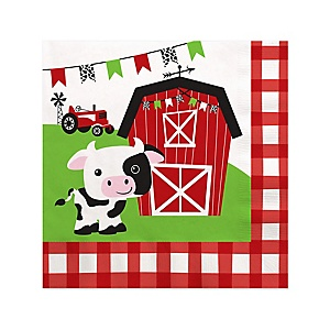 Farm Animals - Barnyard Baby Shower or Birthday Party Cocktail Beverage Napkins - 16 ct