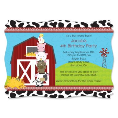 Farm Animals Personalized Birthday Party Invitations