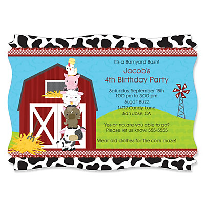 Farm Animals Personalized Birthday Party Invitations – Farm Party Invitations