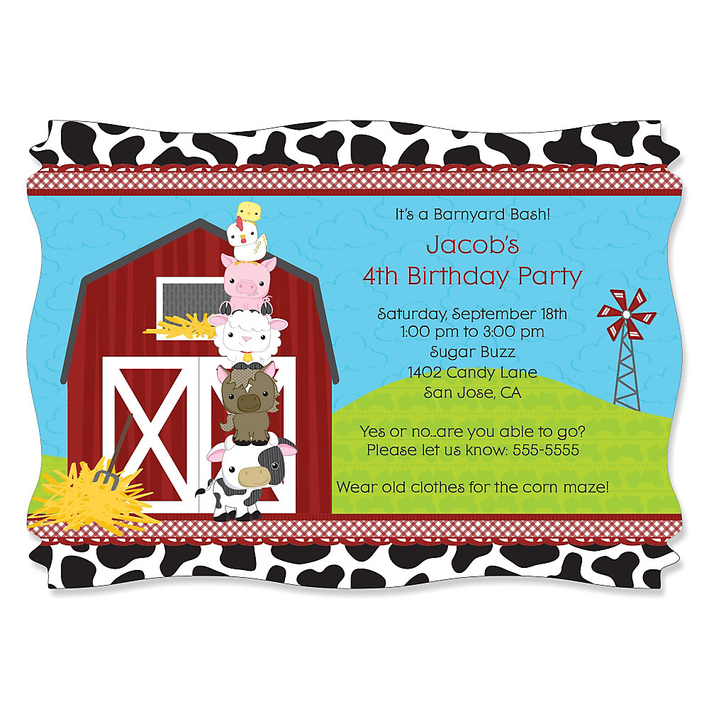 Farm animals personalized birthday party invitations set of 12 loading filmwisefo