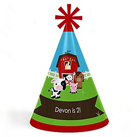 Farm Animals - Personalized Cone Happy Birthday Party Hats for Kids and Adults - Set of 8 (Standard Size)