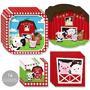Farm Animals - Barnyard Baby Shower or Birthday Party Tableware Plates and Napkins - Bundle for 16