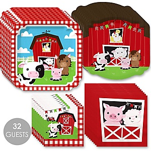Farm Animals - Barnyard Baby Shower or Birthday Party Tableware Plates and Napkins - Bundle for 32