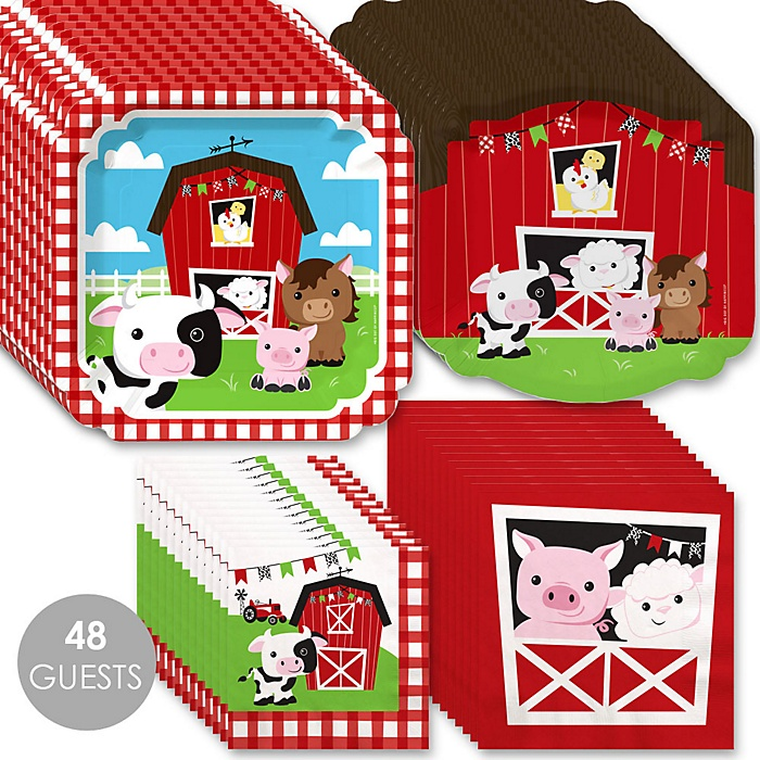 Farm Animals - Barnyard Baby Shower or Birthday Party Tableware Plates and Napkins - Bundle for 48