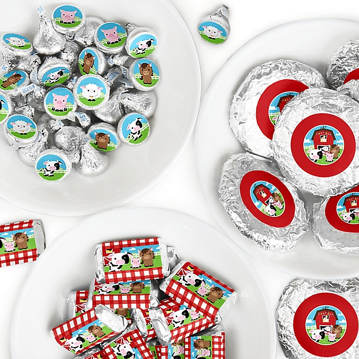 Farm Animals - Mini Candy Bar Wrappers, Round Candy Stickers and Circle Stickers - Barnyard Baby Shower or Birthday Party Candy Favor Sticker Kit - 304 Pieces